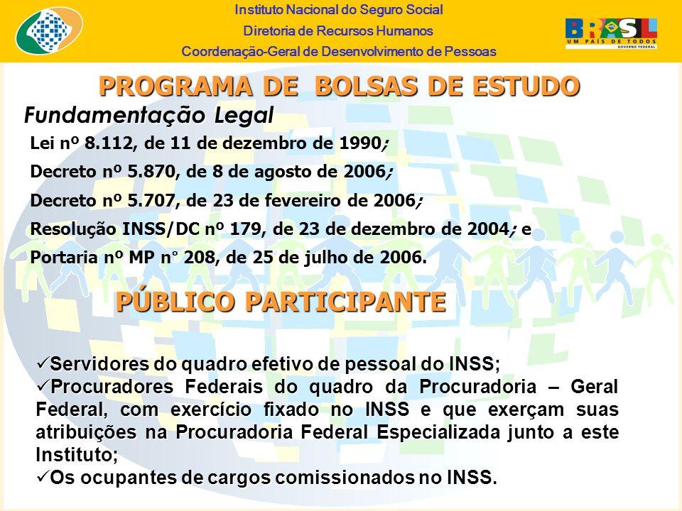 Instituto Nacional do Seguro Social Diretoria de Recursos Humanos Coordena ç ão-Geral de Desenvolvimento de Pessoas Fundamentação Legal PROGRAMA DE BO