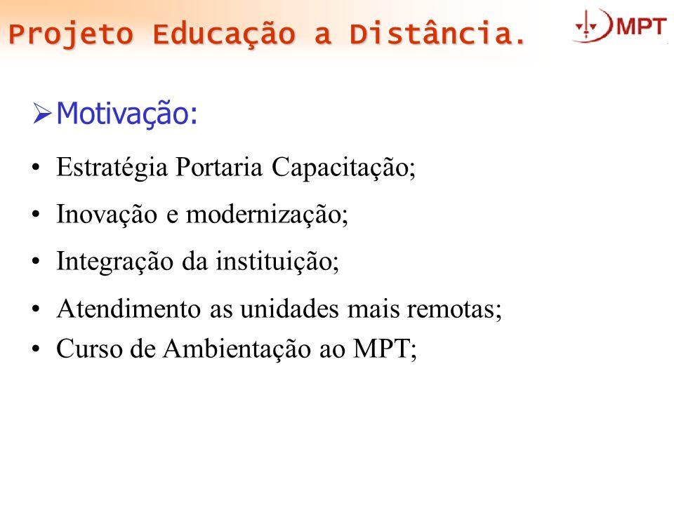 Projeto Educação a Distância. Motivação: Estratégia Portaria Capacitação; Inovação e modernização; Integração da instituição; Atendimento as unidades