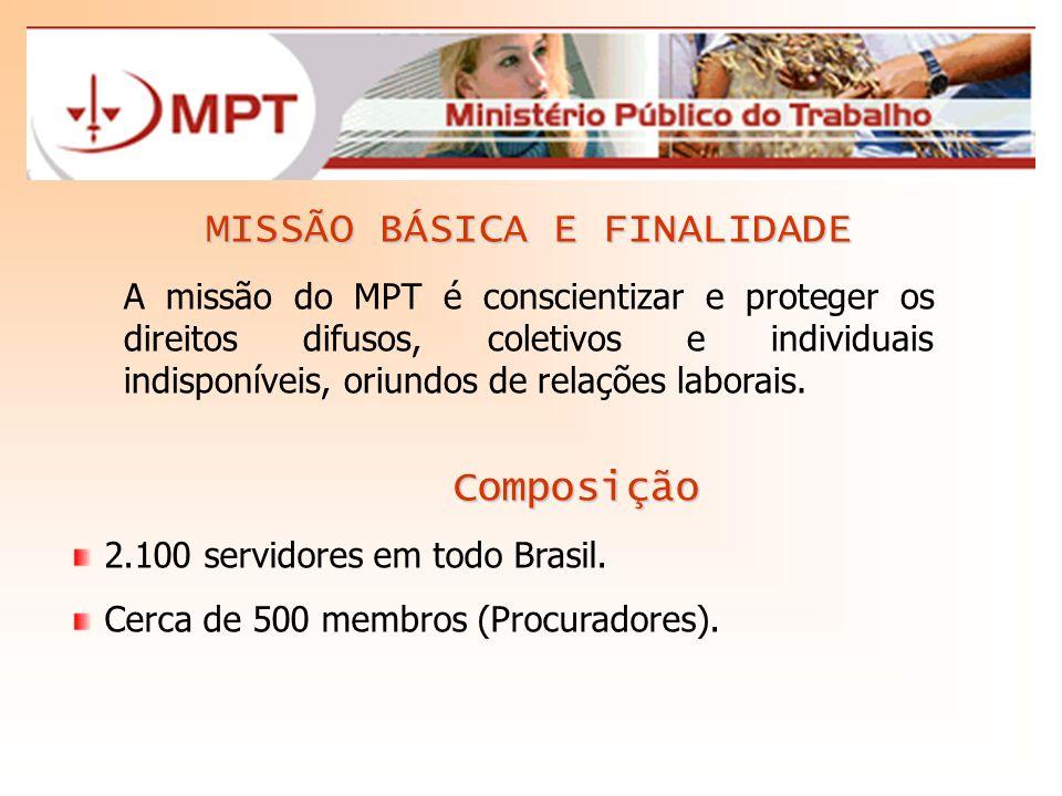 MISSÃO BÁSICA E FINALIDADE A missão do MPT é conscientizar e proteger os direitos difusos, coletivos e individuais indisponíveis, oriundos de relações