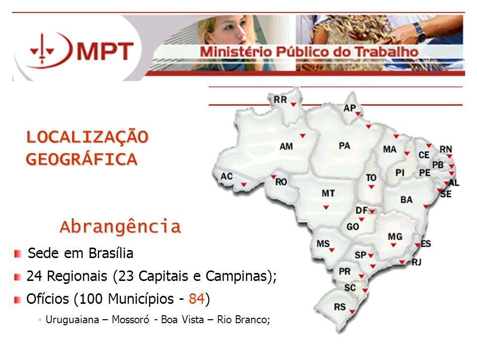 LOCALIZAÇÃO GEOGRÁFICA Abrangência Abrangência Sede em Brasília 24 Regionais (23 Capitais e Campinas); Ofícios (100 Municípios - 84) Uruguaiana – Moss