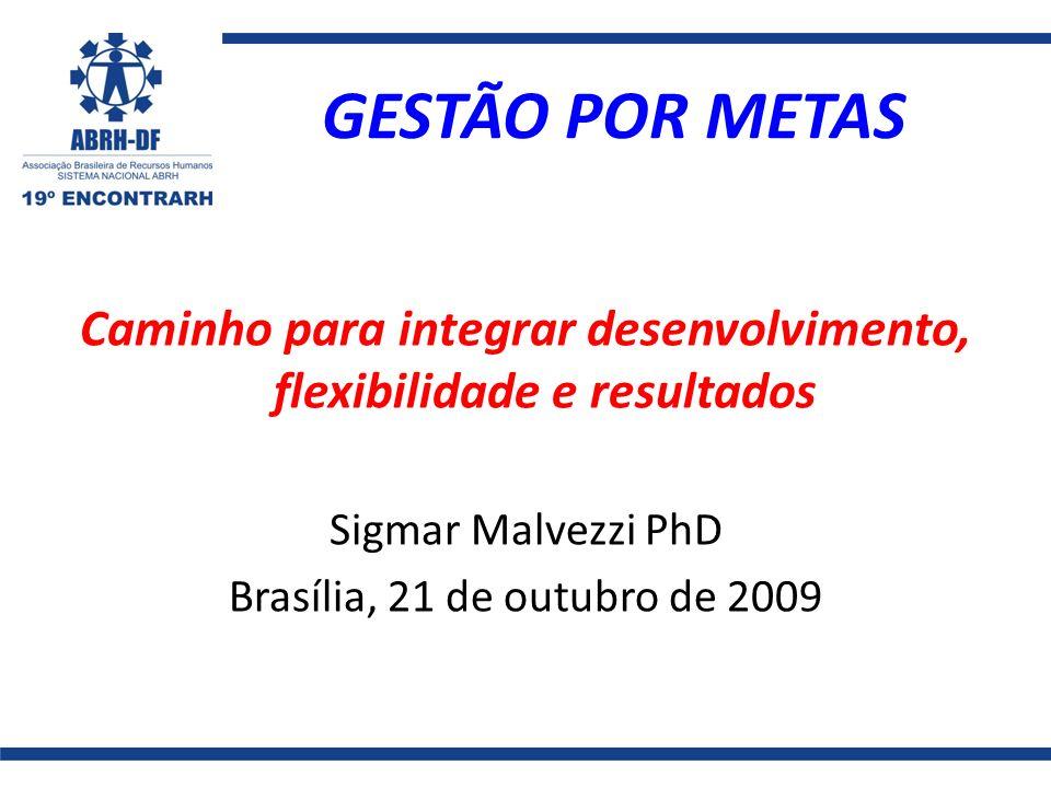 GESTÃO POR METAS Caminho para integrar desenvolvimento, flexibilidade e resultados Sigmar Malvezzi PhD Brasília, 21 de outubro de 2009