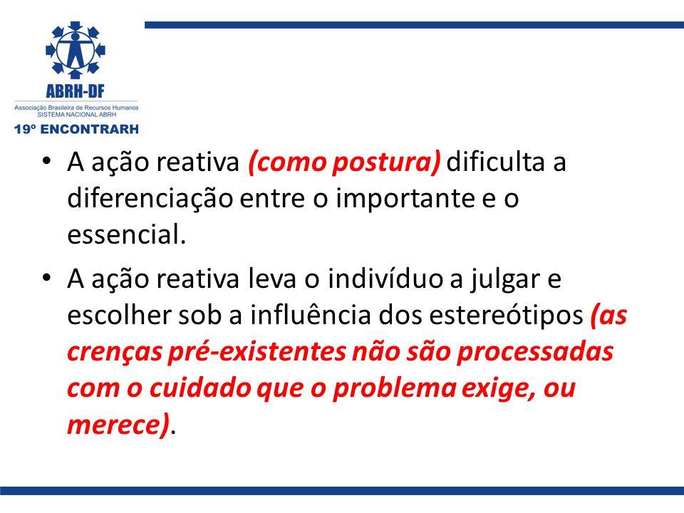 A ação reativa (como postura) dificulta a diferenciação entre o importante e o essencial.
