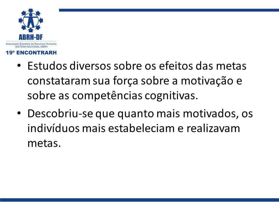 Estudos diversos sobre os efeitos das metas constataram sua força sobre a motivação e sobre as competências cognitivas.