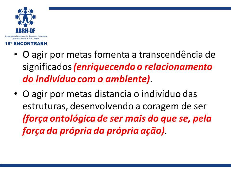 O agir por metas fomenta a transcendência de significados (enriquecendo o relacionamento do indivíduo com o ambiente).