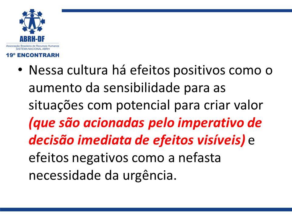Nessa cultura há efeitos positivos como o aumento da sensibilidade para as situações com potencial para criar valor (que são acionadas pelo imperativo de decisão imediata de efeitos visíveis) e efeitos negativos como a nefasta necessidade da urgência.