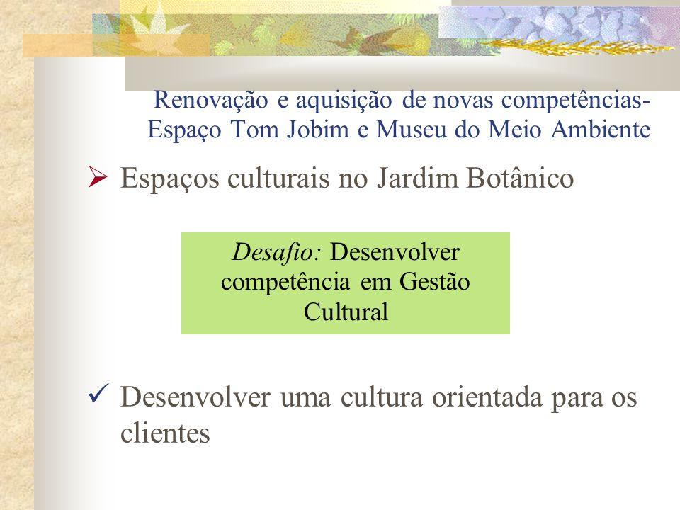 Renovação e aquisição de novas competências- Espaço Tom Jobim e Museu do Meio Ambiente Espaços culturais no Jardim Botânico Desenvolver uma cultura or