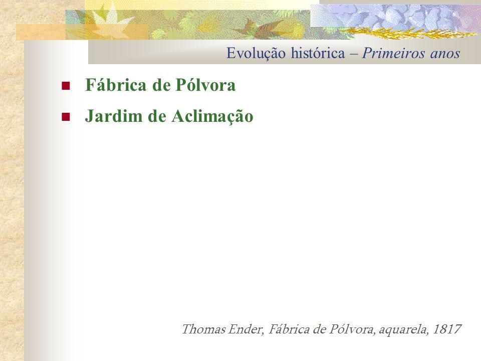 Evolução histórica – Primeiros anos Fábrica de Pólvora Jardim de Aclimação Thomas Ender, Fábrica de Pólvora, aquarela, 1817