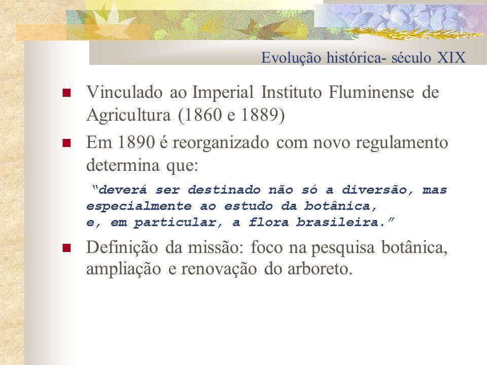 Evolução histórica- século XIX Vinculado ao Imperial Instituto Fluminense de Agricultura (1860 e 1889) Em 1890 é reorganizado com novo regulamento det