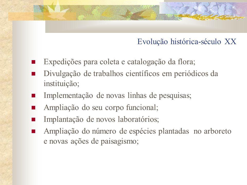 Evolução histórica-século XX Expedições para coleta e catalogação da flora; Divulgação de trabalhos científicos em periódicos da instituição; Implemen