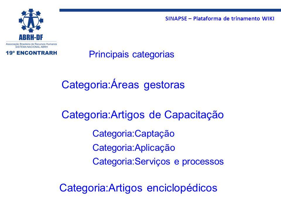 SINAPSE – Plataforma de trinamento WIKI Categoria:Artigos de Capacitação Categoria:Artigos enciclopédicos Categoria:Áreas gestoras Categoria:Captação