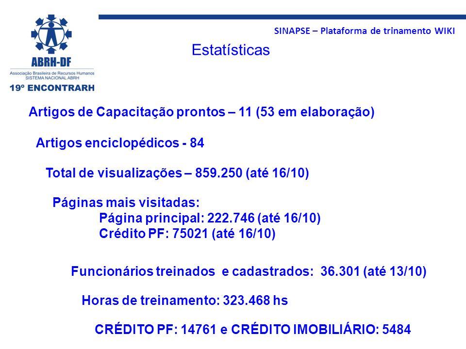 SINAPSE – Plataforma de trinamento WIKI Estatísticas Artigos de Capacitação prontos – 11 (53 em elaboração) Artigos enciclopédicos - 84 Páginas mais v