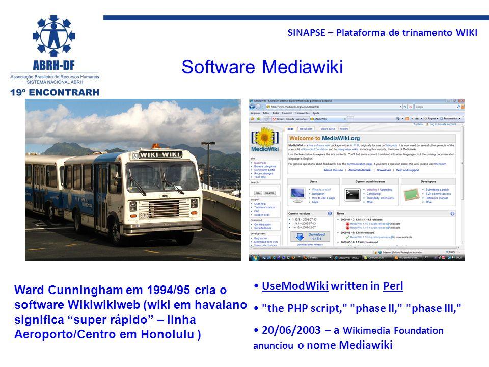 SINAPSE – Plataforma de trinamento WIKI Ward Cunningham em 1994/95 cria o software Wikiwikiweb (wiki em havaiano significa super rápido – linha Aeropo