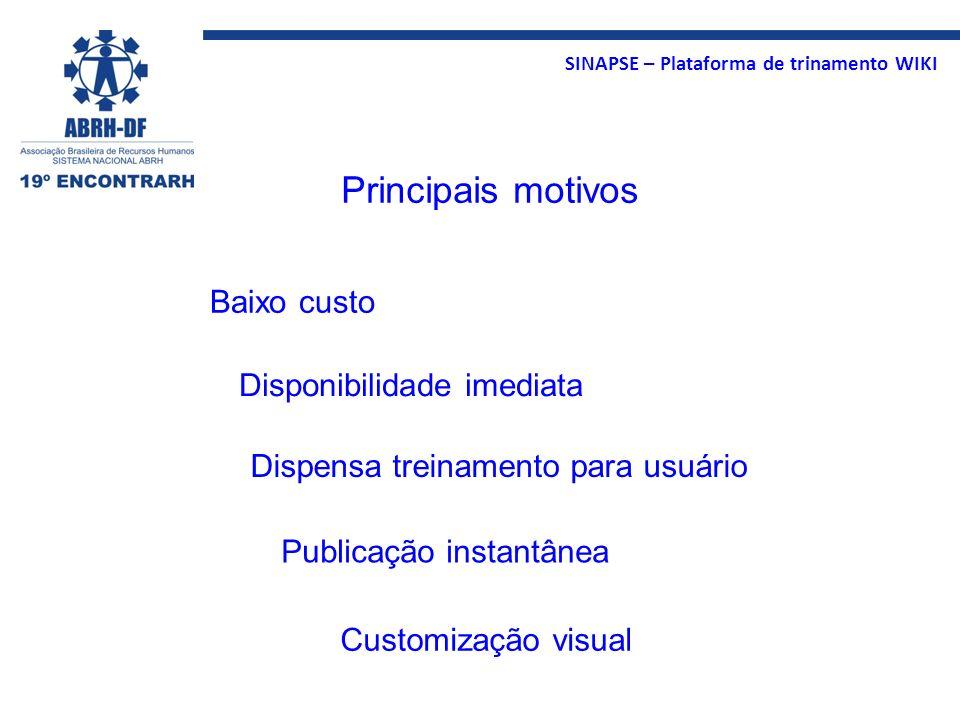 SINAPSE – Plataforma de trinamento WIKI Principais motivos Dispensa treinamento para usuário Customização visual Disponibilidade imediata Publicação i