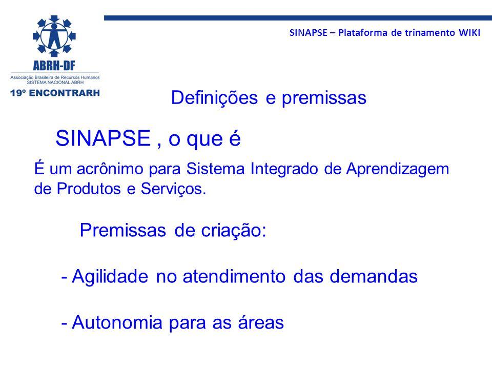 SINAPSE – Plataforma de trinamento WIKI É um acrônimo para Sistema Integrado de Aprendizagem de Produtos e Serviços. SINAPSE, o que é Premissas de cri