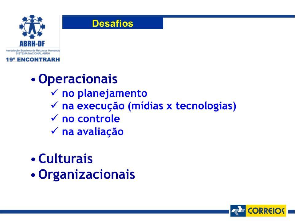Operacionais no planejamento na execução (mídias x tecnologias) no controle na avaliação Culturais Organizacionais Desafios