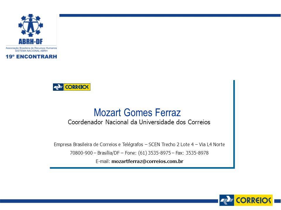 Mozart Gomes Ferraz Coordenador Nacional da Universidade dos Correios Empresa Brasileira de Correios e Telégrafos – SCEN Trecho 2 Lote 4 – Via L4 Nort