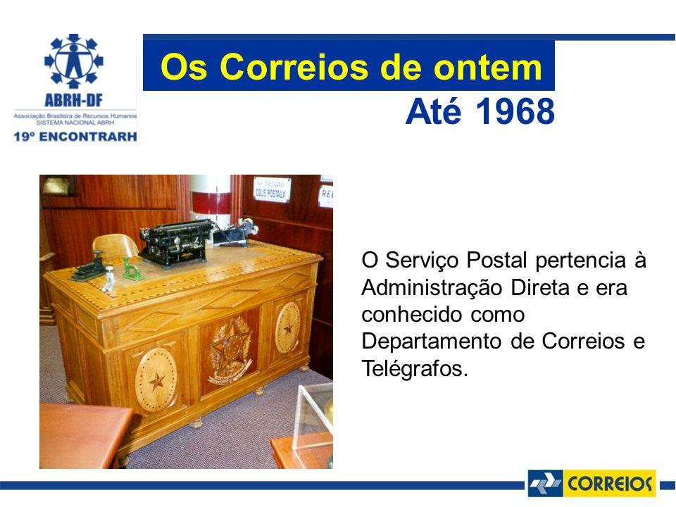 O Serviço Postal pertencia à Administração Direta e era conhecido como Departamento de Correios e Telégrafos. Até 1968 Os Correios de ontem