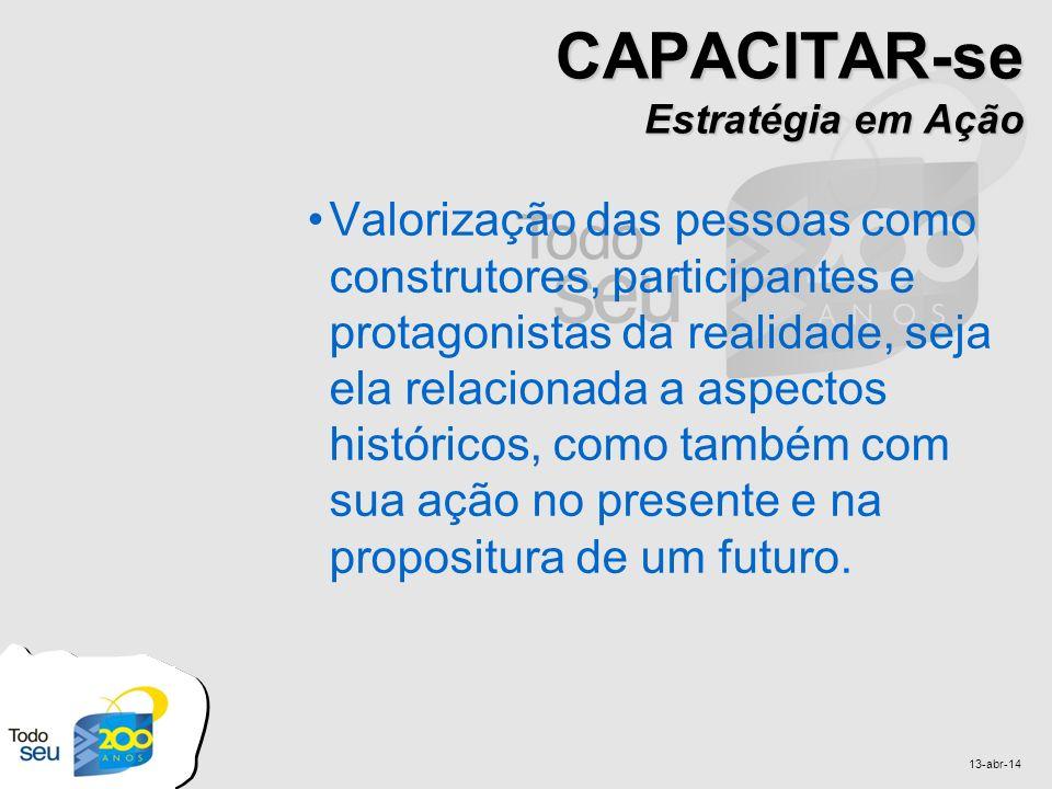 13-abr-14 CAPACITAR-se Estratégia em Ação Valorização das pessoas como construtores, participantes e protagonistas da realidade, seja ela relacionada