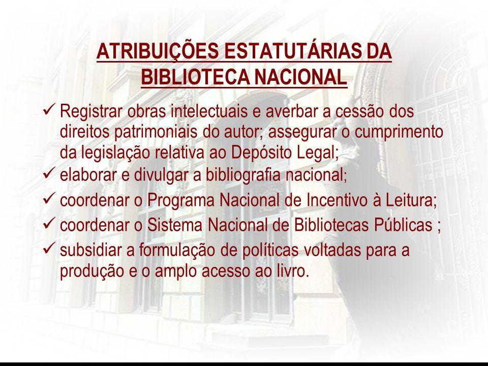 Registrar obras intelectuais e averbar a cessão dos direitos patrimoniais do autor; assegurar o cumprimento da legislação relativa ao Depósito Legal;