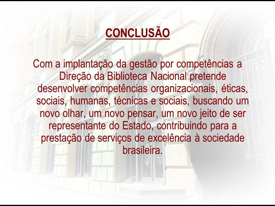 CONCLUSÃO Com a implantação da gestão por competências a Direção da Biblioteca Nacional pretende desenvolver competências organizacionais, éticas, soc