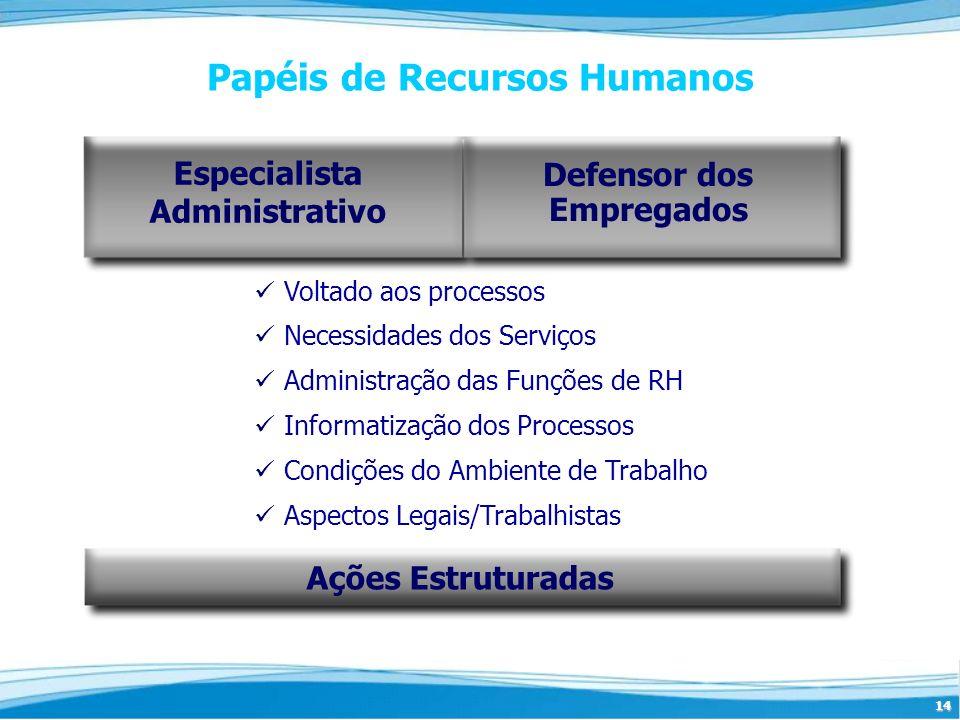 14 Papéis de Recursos Humanos Voltado aos processos Necessidades dos Serviços Administração das Funções de RH Informatização dos Processos Condições d