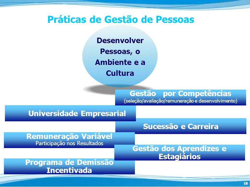 18 Programa de Demissão Incentivada Sucessão e Carreira Desenvolver Pessoas, o Ambiente e a Cultura Práticas de Gestão de Pessoas Universidade Empresa