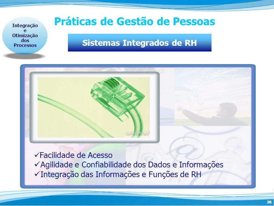 26 Práticas de Gestão de Pessoas Sistemas Integrados de RH Integração e Otimização dos Processos Facilidade de Acesso Agilidade e Confiabilidade dos D