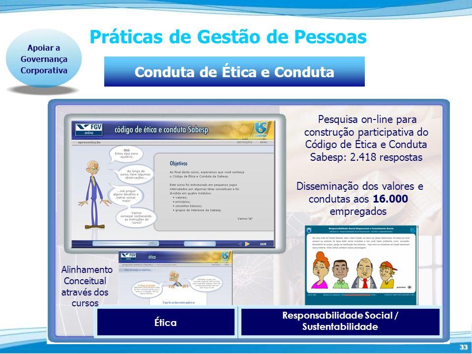 33 Práticas de Gestão de Pessoas Responsabilidade Social / Sustentabilidade Ética Disseminação dos valores e condutas aos 16.000 empregados Pesquisa o