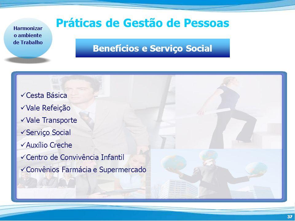 37 Práticas de Gestão de Pessoas Harmonizar o ambiente de Trabalho Benefícios e Serviço Social Cesta Básica Vale Refeição Vale Transporte Serviço Soci
