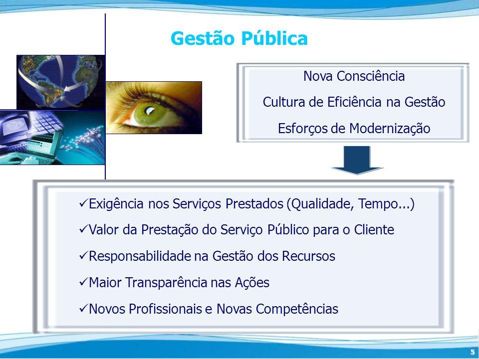 5 Gestão Pública Exigência nos Serviços Prestados (Qualidade, Tempo...) Valor da Prestação do Serviço Público para o Cliente Responsabilidade na Gestã