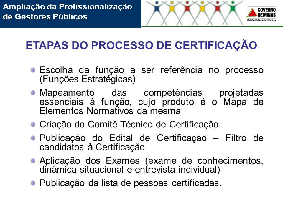 Escolha da função a ser referência no processo (Funções Estratégicas) Mapeamento das competências projetadas essenciais à função, cujo produto é o Map