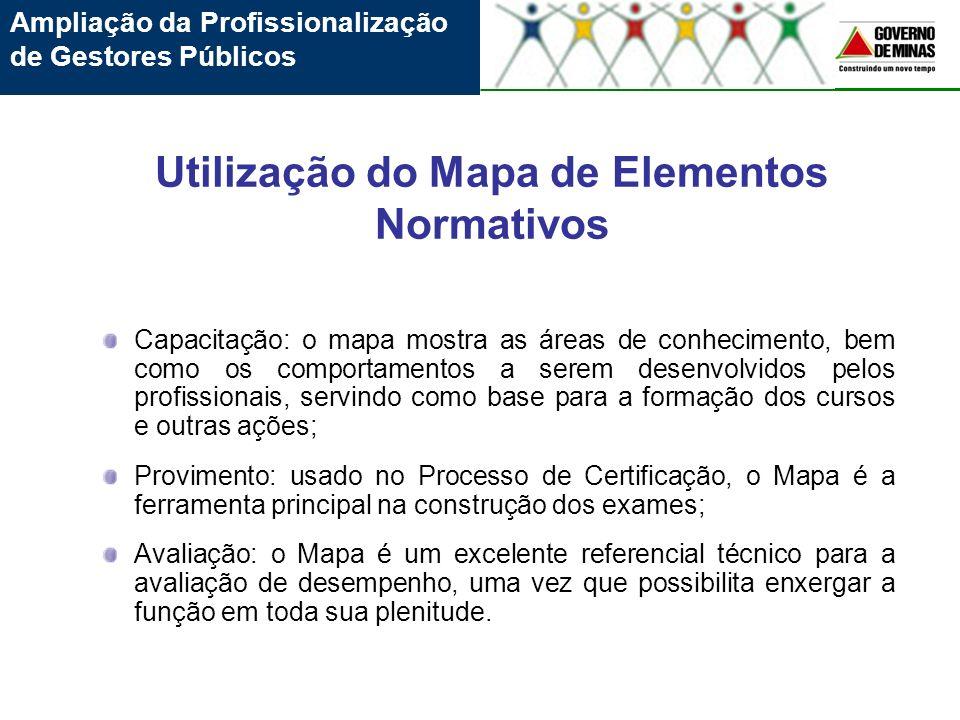 Utilização do Mapa de Elementos Normativos Capacitação: o mapa mostra as áreas de conhecimento, bem como os comportamentos a serem desenvolvidos pelos