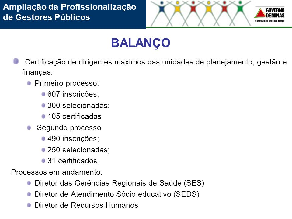 Certificação de dirigentes máximos das unidades de planejamento, gestão e finanças: Primeiro processo: 607 inscrições; 300 selecionadas; 105 certifica