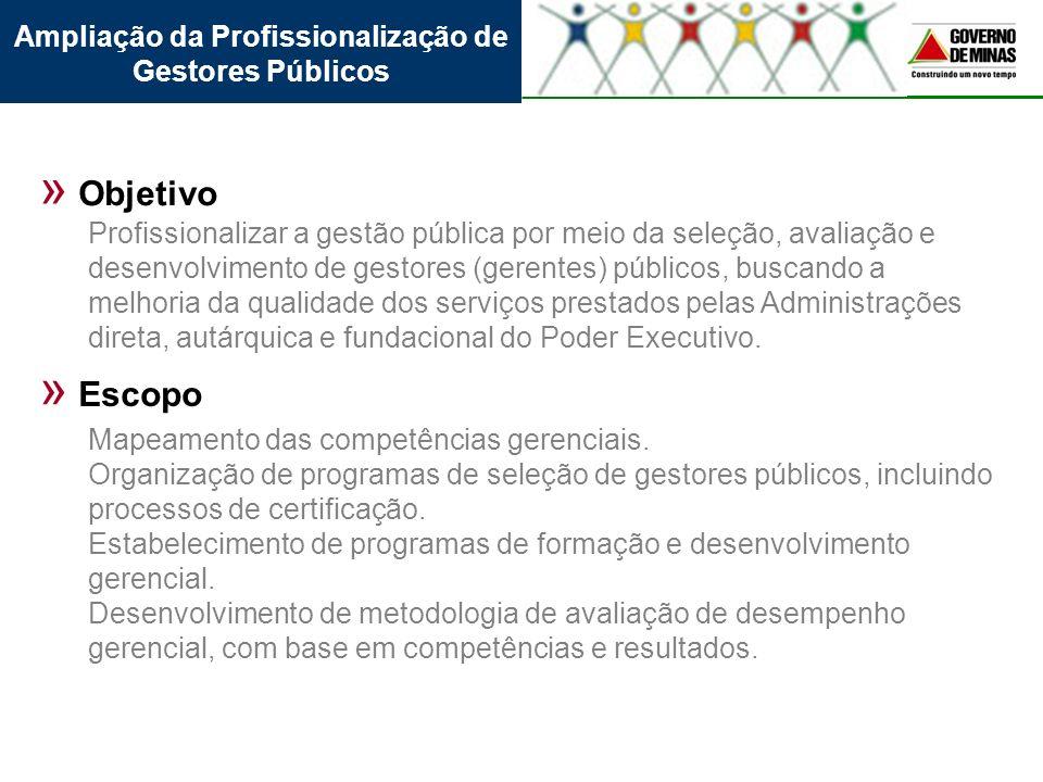 Ampliação da Profissionalização de Gestores Públicos » Objetivo » Escopo Profissionalizar a gestão pública por meio da seleção, avaliação e desenvolvi