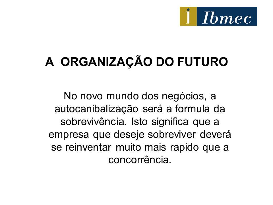 A ORGANIZAÇÃO DO FUTURO No novo mundo dos negócios, a autocanibalização será a formula da sobrevivência. Isto significa que a empresa que deseje sobre