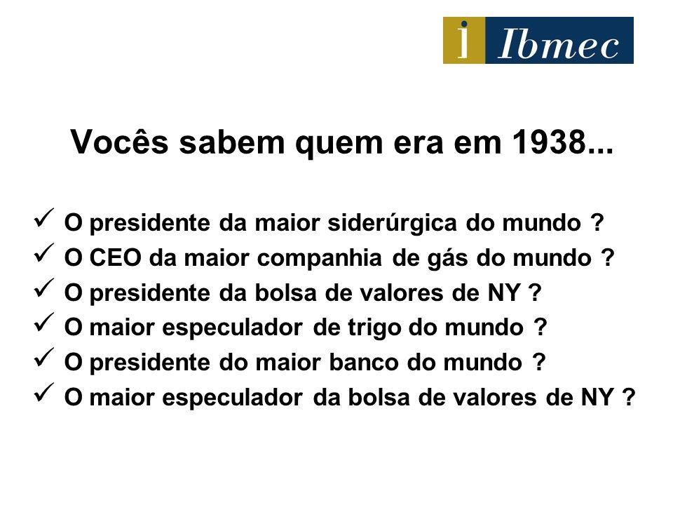 Vocês sabem quem era em 1938... O presidente da maior siderúrgica do mundo ? O CEO da maior companhia de gás do mundo ? O presidente da bolsa de valor