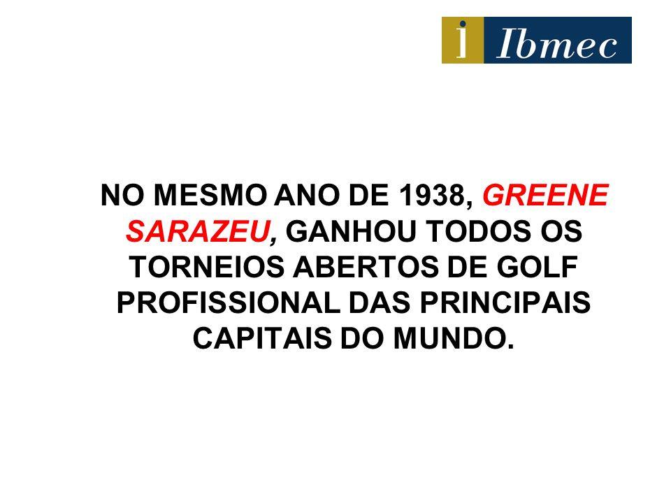 NO MESMO ANO DE 1938, GREENE SARAZEU, GANHOU TODOS OS TORNEIOS ABERTOS DE GOLF PROFISSIONAL DAS PRINCIPAIS CAPITAIS DO MUNDO.