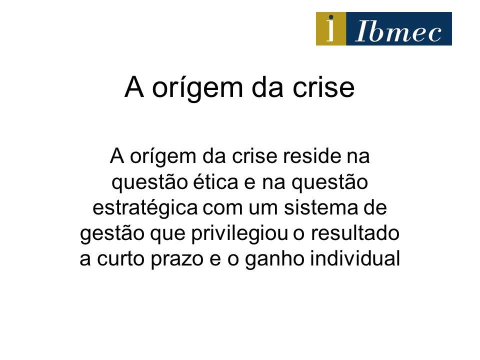 A orígem da crise A orígem da crise reside na questão ética e na questão estratégica com um sistema de gestão que privilegiou o resultado a curto praz