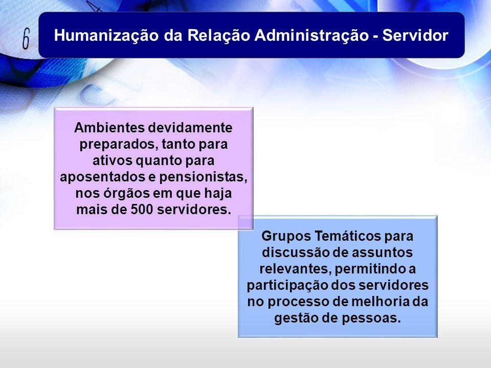 Grupos Temáticos para discussão de assuntos relevantes, permitindo a participação dos servidores no processo de melhoria da gestão de pessoas. Humaniz