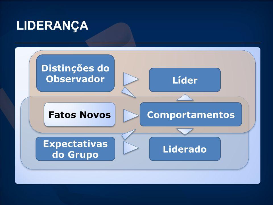 LIDERANÇA Distinções do Observador Líder Fatos Novos Expectativas do Grupo Comportamentos Liderado