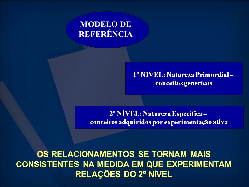 1º NÍVEL: Natureza Primordial – conceitos genéricos 2º NÍVEL: Natureza Específica – conceitos adquiridos por experimentação ativa OS RELACIONAMENTOS S