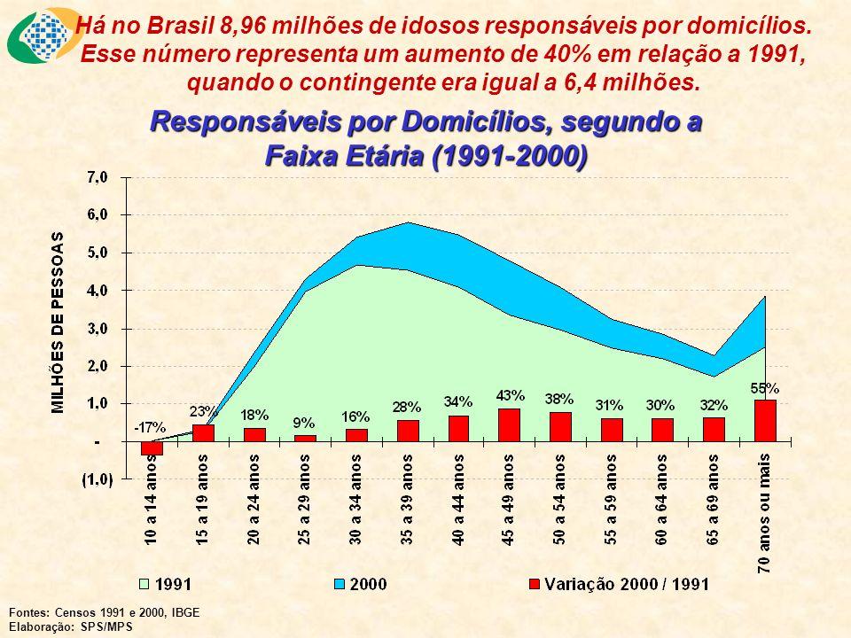 Responsáveis por Domicílios, segundo a Faixa Etária (1991-2000) Fontes: Censos 1991 e 2000, IBGE Elaboração: SPS/MPS Há no Brasil 8,96 milhões de idosos responsáveis por domicílios.