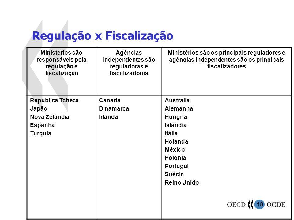 18 Regulação x Fiscalização Ministérios são responsáveis pela regulação e fiscalização Agências independentes são reguladoras e fiscalizadoras Ministé