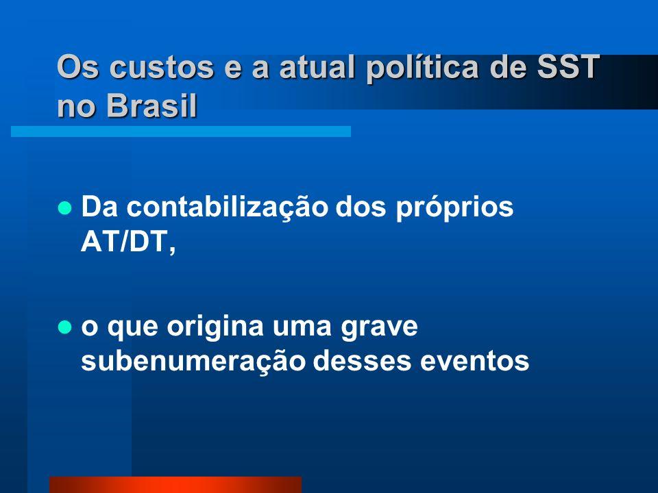 Os custos e a atual política de SST no Brasil Da contabilização dos próprios AT/DT, o que origina uma grave subenumeração desses eventos