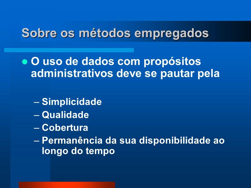 Sobre os métodos empregados O uso de dados com propósitos administrativos deve se pautar pela –Simplicidade –Qualidade –Cobertura –Permanência da sua disponibilidade ao longo do tempo