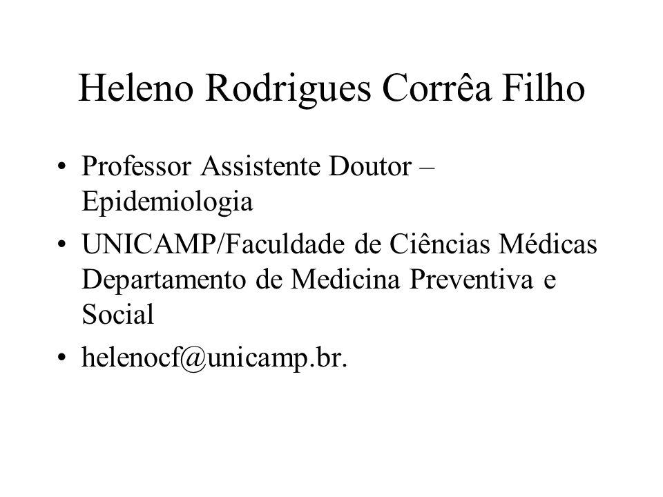 Heleno Rodrigues Corrêa Filho Professor Assistente Doutor – Epidemiologia UNICAMP/Faculdade de Ciências Médicas Departamento de Medicina Preventiva e