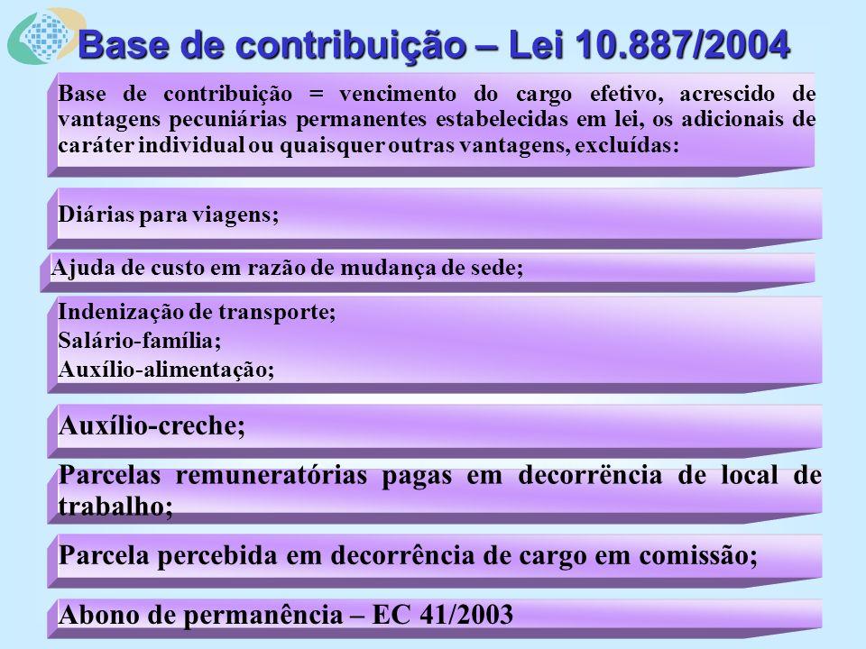 Indenização de transporte; Salário-família; Auxílio-alimentação; Ajuda de custo em razão de mudança de sede; Diárias para viagens; Base de contribuição = vencimento do cargo efetivo, acrescido de vantagens pecuniárias permanentes estabelecidas em lei, os adicionais de caráter individual ou quaisquer outras vantagens, excluídas: Base de contribuição – Lei 10.887/2004 Abono de permanência – EC 41/2003 Parcela percebida em decorrência de cargo em comissão; Parcelas remuneratórias pagas em decorrëncia de local de trabalho; Auxílio-creche;