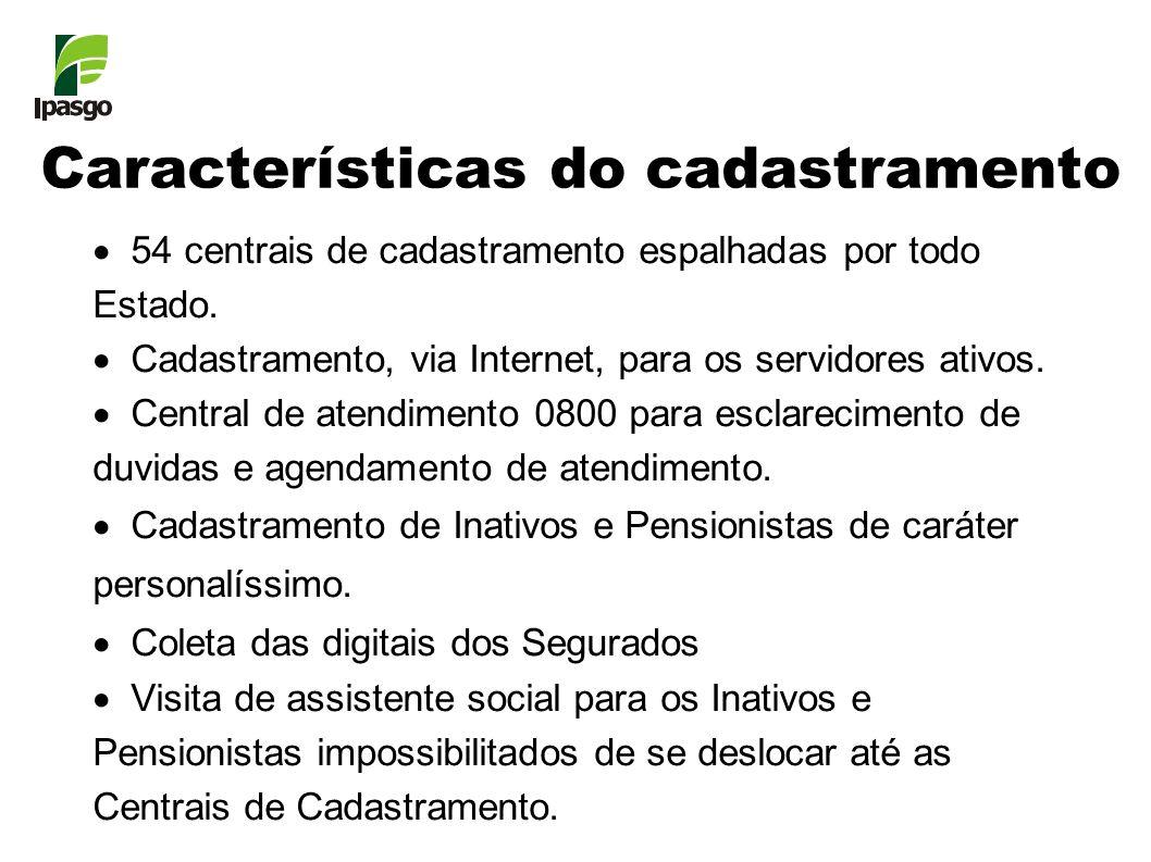 Características do cadastramento 54 centrais de cadastramento espalhadas por todo Estado. Cadastramento, via Internet, para os servidores ativos. Cent