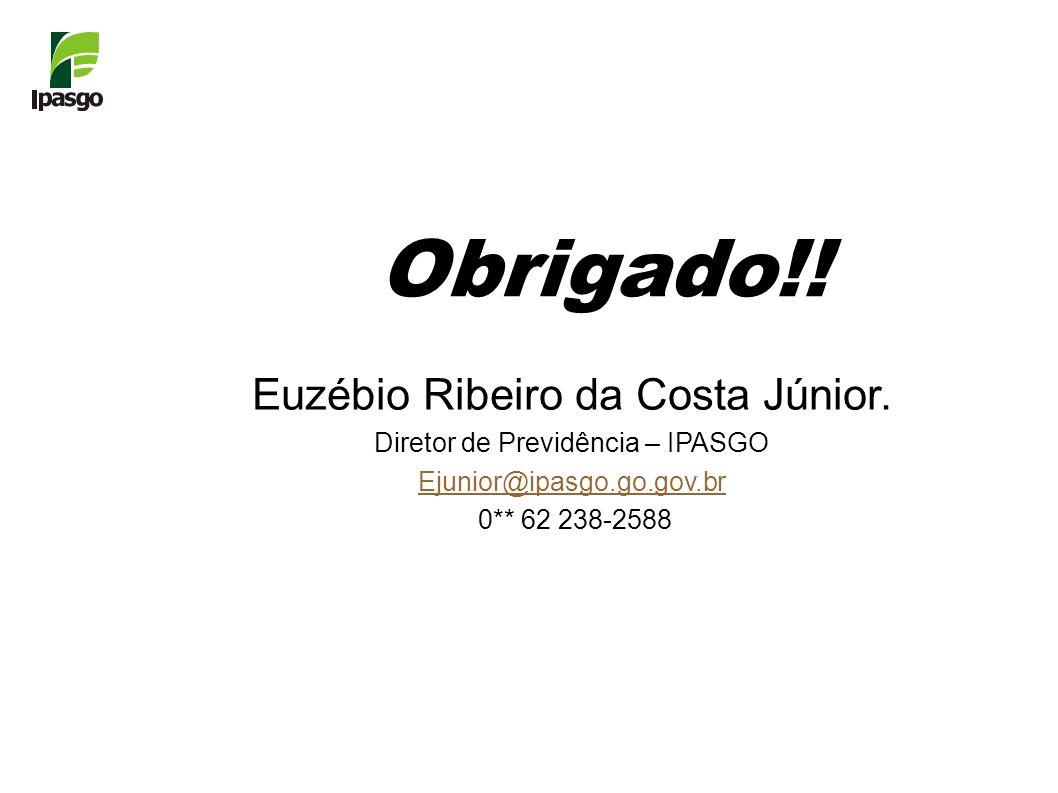 Euzébio Ribeiro da Costa Júnior. Diretor de Previdência – IPASGO Ejunior@ipasgo.go.gov.br 0** 62 238-2588 Obrigado!!