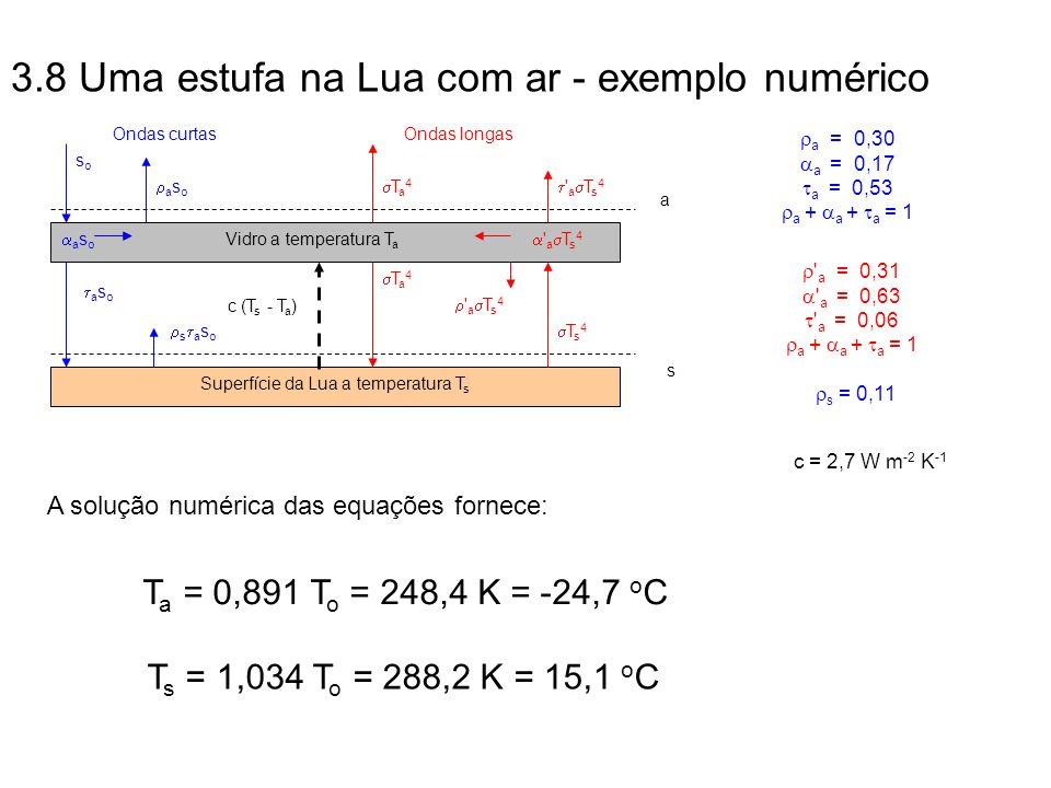 3.8 Uma estufa na Lua com ar - exemplo numérico T a 4 soso T s 4 ' a T s 4 s a s o a s o Superfície da Lua a temperatura T s a s o Vidro a temperatura